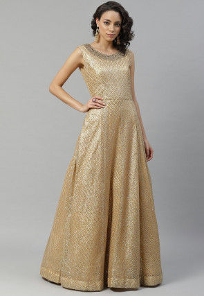 Embellished Net Gown in Golden