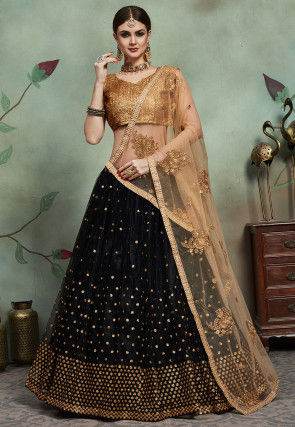 Embellished Net Lehenga in Black