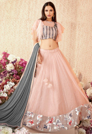 Embellished Net Lehenga in Peach