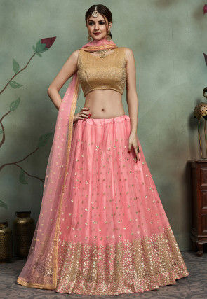 Embellished Net Lehenga in Pink