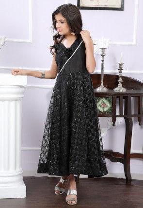 Embellished Net Maxi Dress in Black