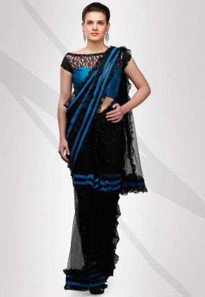 Embellished Net Saree in Black