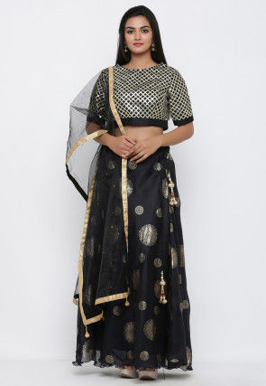 Embellished Net Shimmer Dupatta in Black