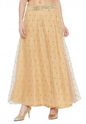 Embellished Net Skirt in Beige