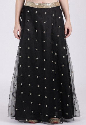 Embellished Net Skirt in Black