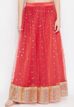 Embellished Net Skirt in Coral Red