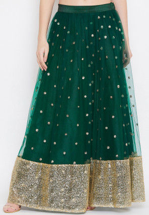 Embellished Net Skirt in Dark Green