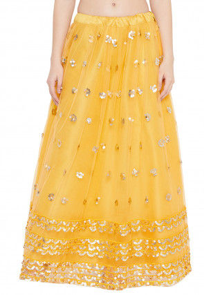 Embellished Net Skirt in Yellow
