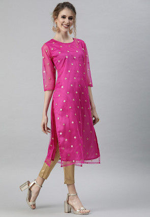 Embellished Net Straight Kurta in Pink