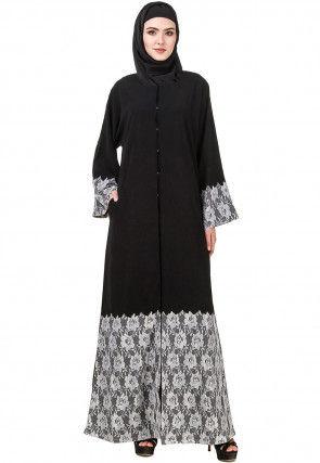 Embellished Nida Abaya with Jacket in Black