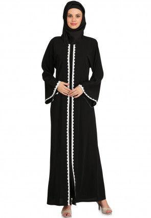 Embellished Nida Front Open Abaya in Black