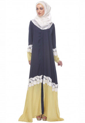 Embellished Nida Front Open Abaya in Navy Blue and Yellow