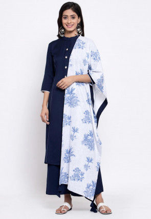 Embellished Placket Cotton Pakistani Suit in Navy Blue