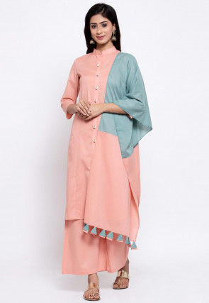 Embellished Placket Cotton Pakistani Suit in Peach