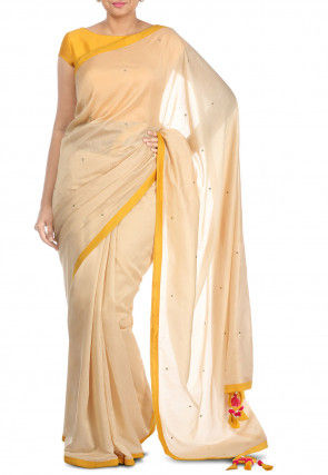 Embellished Pure Chanderi silk Saree in Light Beige