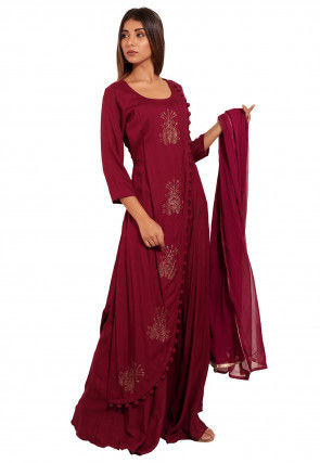 Embellished Rayon Abaya Style Suit in Wine