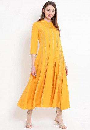 Embellished Rayon Anarkali Kurta Set in Mustard