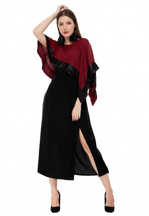 Embellished Rayon Cape Style Dress in Black and Maroon