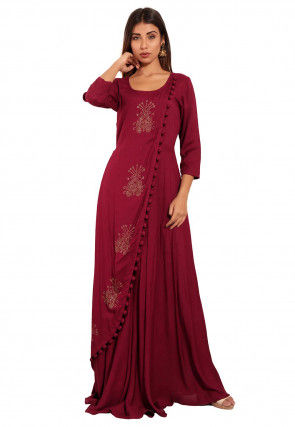 Embellished Rayon Gown in Wine