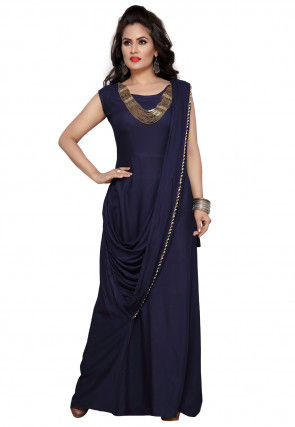 Embellished Rayon Gown in Navy Blue