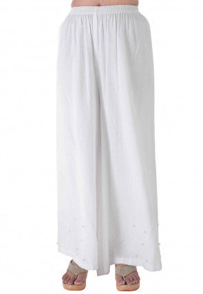 Embellished Rayon Palazzo in White