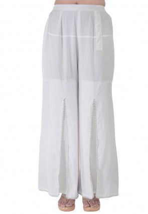 Embellished Rayon Slitted Palazzo in White