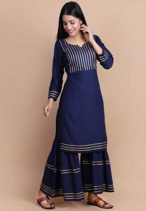 Embellished Rayon Straight Kurta in Navy Blue