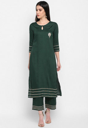 Embellished Rayon Straight Kurta Set in Dark Green