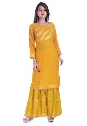 Embellished Rayon Straight Kurta Set in Mustard