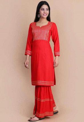 Embellished Rayon Straight Kurta Set in Red