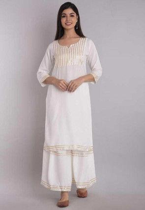 Embellished Rayon Straight Kurta Set in White