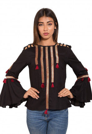Embellished Rayon Top in Black