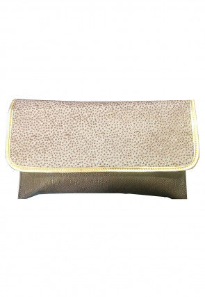 Embellished Rexin Clutch Bag in Antique and Off White