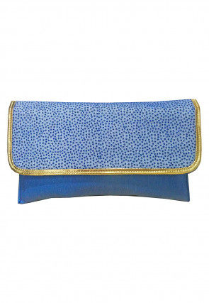 Embellished Rexin Clutch Bag in Blue