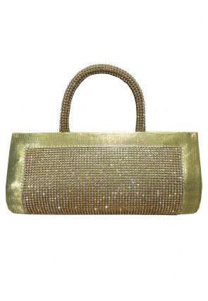 Embellished Rexin Clutch Bag in Gold