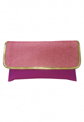 Embellished Rexin Clutch Bag in Pink