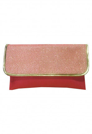 Embellished Rexin Clutch Bag in Red