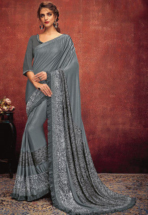 Embellished Ruffled Lycra Saree in Grey