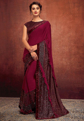 Embellished Ruffled Lycra Saree in Magenta