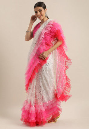 Embellished Ruffled Net Saree in Off White and Pink
