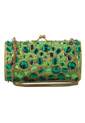 Embellished Satin Box Clutch in Green