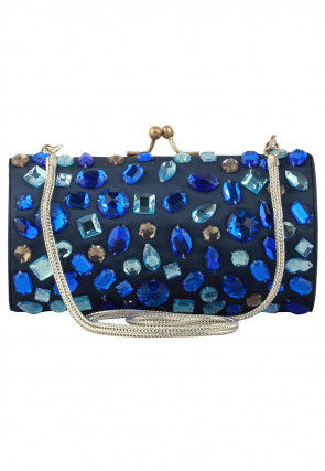 Embellished Satin Brass Frame Box Clutch in Navy Blue