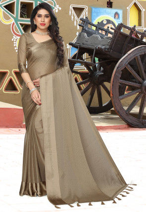 Embellished Satin Chiffon Saree in Fawn