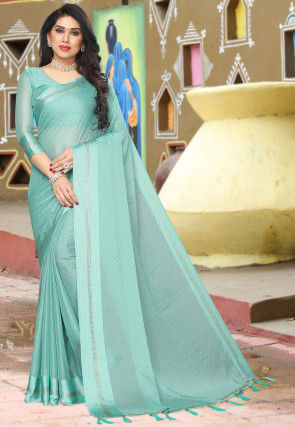 Embellished Satin Chiffon Saree in Light Blue