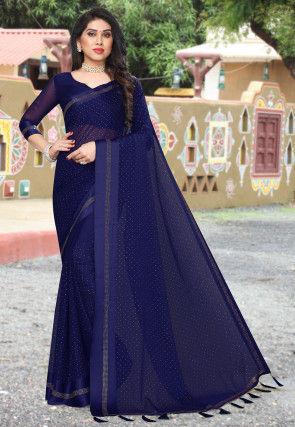 Embellished Satin Chiffon Saree in Navy Blue