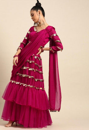 Embellished Satin Georgette Lehenga in Fuchsia
