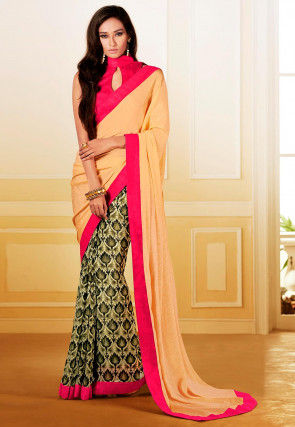 Embellished Satin Georgette Saree in Pastel Orange and Green