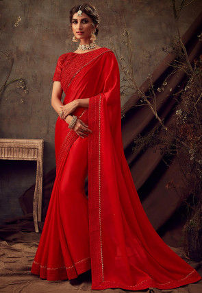 Embellished Satin Georgette Saree in Red
