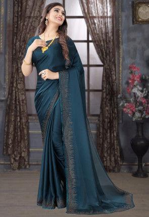 Embellished Satin Georgette Saree in Teal Blue