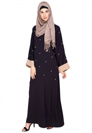 Embellished Satin Nida Closed Dubai Style Abaya in Dark Purple